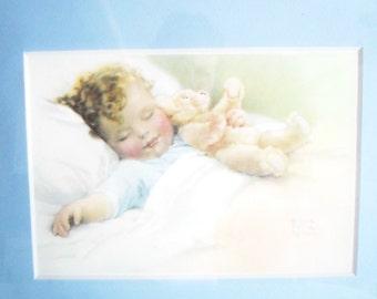 Bessie Pease Gutmann Germany Happy Dreams Matted Printed in Oak Frame