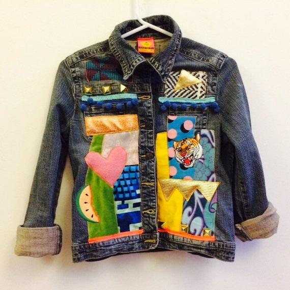 MAMA Womens Denim Jacket Upcycled African Print Size 8 UK (4 US)
