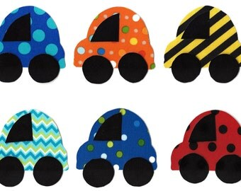 6 Iron on car miniature appliques DIY - baby shower appliques