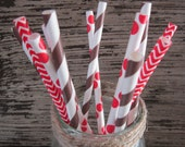 Gingerbread Party Straws ~ Brown & Red Straws ~ Holiday Straws ~ Drinking Straws