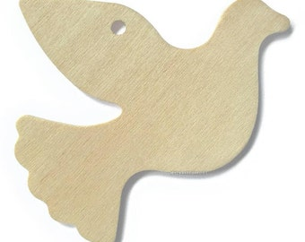 "10 Wood Dove Gift Tags, 4"" Wide, 1/8"" Thick"