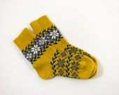 Knitted Wool Socks, Folk Pattern Socks - Yellow, Size Medium