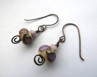 handmade lilac swirl copper and lampwork earrings