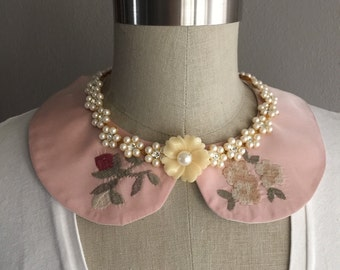 Pink Embroidered Taffeta Rounded  Peter Pan Collar Necklace with Pearl Detail and Ivory Satin Bow Closure