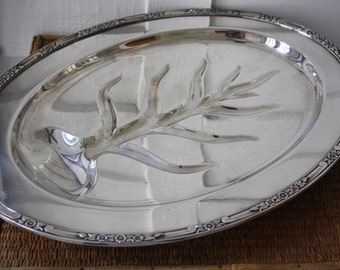 Large silver footed tray, Rogers & Bro, entertaining, large silver platter, vintage silver platter
