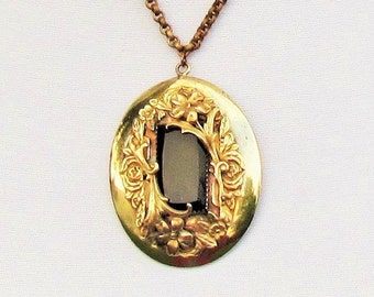 Antique brass and black glass pendant, c.1900 ornate Victorian pendant, large oval pendant on brass rolo chain