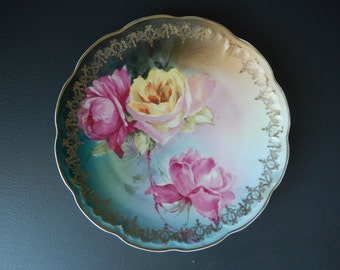 Antique Roses Plate - Hand Painted Roses Plate - Cabinet Plate - Collectable Plate - Cottage Chic Plate - Shabby Roses Plate