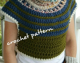 CROCHET PATTERN, poncho pattern, shawl, cowl pattern, Crochet Crop top, chunky gothic sweater vest pattern, medieval clothing, mythical vest