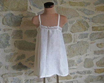 silky cream camisole top - handmade vintage French camisole trimmed with handmade lace - size S / XS