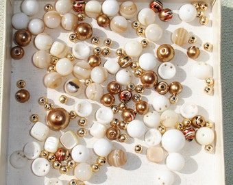 White & Gold Gemstone, Glass, Acrylic Bead Lot -  Jewelry Making Supplies