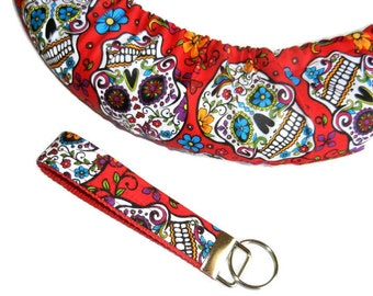 Skulls Red Steering Wheel Cover & Fabric Key Chain Set-Car Accessory-For Women-Car Decor-Wheel Cover-Matching Set