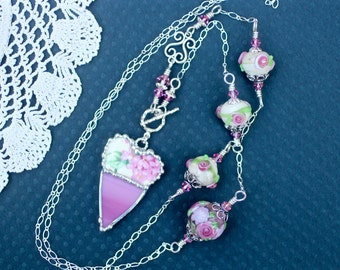 Necklace, Broken China Jewelry, Broken China Necklace, Handmade Lampwork Beads, Pink Floral Chintz, Color Block, Soldered Jewelry