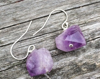 purple rough AMETHYST crystal point sterling earrings