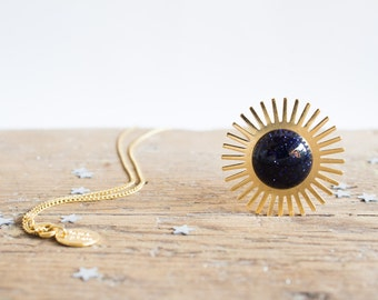 Sun necklace. Cosmos jewelry. Gemstones. Galaxy jewelry. 18kt Gold Filled