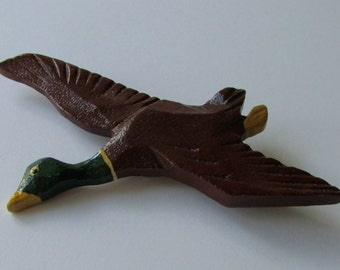 Mallard Duck Pin Brooch Vintage Hand Carved Wood