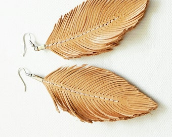 Naked - Glossed Leather, Feather Earring, Large Earrings, Leather Earring, leather Feather Earrings, Leather Earrings, Bohemian, Tan, Nude
