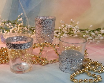 Glitter / Glam / Sparkle Wedding Votive Candle Holders for Weddings, Engagement Parties, 50 per order / bulk votive candle holders