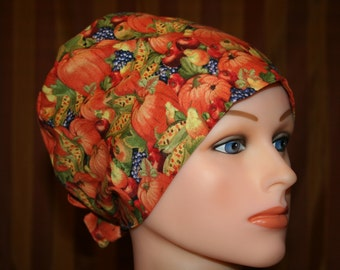 Tie Back Surgical Scrub Hat/Chemo Hat--Fall Harvest