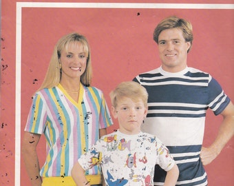 1980's Sewing Pattern - BevKnits 3001 Family T-Shirt  Size 2-12 Children, 8-22 Women, 32-46 Men,  Factory folded and complete