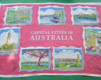 Tea Towel Vintage Souvenir of  Australia - Features different Capital Cities of Australia - 1970s