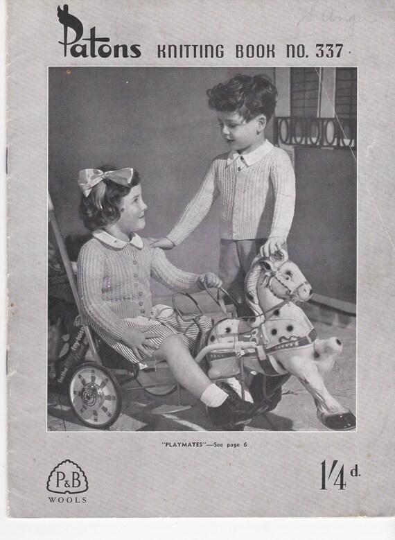 Patons & Baldwins Knitting Pattern No 337 For Children