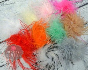 The Stephanie Collection - Ostrich Puffs - You Pick Colors - DIY Flower Headband Supplies - Feather Marabou Curly Ostrich Flower