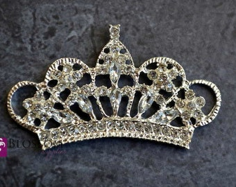 "LARGE Crystal Clear Rhinestone Metal Tiara Embellishments - 2.25""x1.25"" - DIY Headband - Flat Back Buttons - Wedding Bridal Prom Baby"