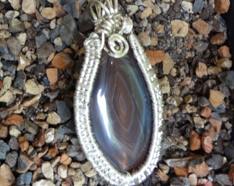 Botswana Agate Wire Wrapped Pendant