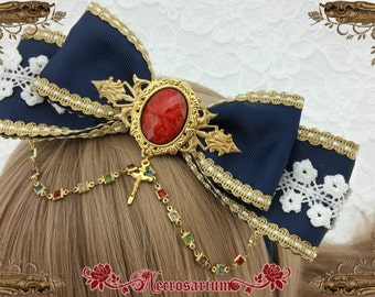 Navy Stained Glass Bow A0816