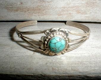 EM Linkin Navajo Turquoise & Sterling Silver Cuff Bracelet *Native American Artist*