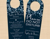 Sparkly Stars On Water Text-Editable Blue Do Not Disturb Door Hangers: Compatible with Avery® 16150 Templates - Printable Instant Download