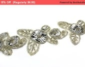 SALE Fancy Silver Floral Beaded Trim Applique for Wedding Bridal Evening Decor