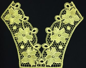 Gold Embroidered Lace Crochet Necklace Collar Applique, lace collar wedding dress
