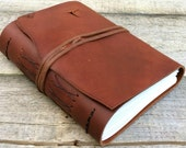 Large Leather journal / rustic brown leather journal / leather writing journal / travel journal / by moon and hare