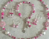 Reserved for Jennifer custom handmade to order necklace/bracelet/earring set,  pink and silver,  free gift wrapping,  gifts for womem