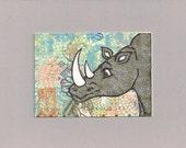 ACEO, ATC, Art Trading Card, Original, Collage, Mixed Media, Hand Drawn, Kid Friendly, Rhino