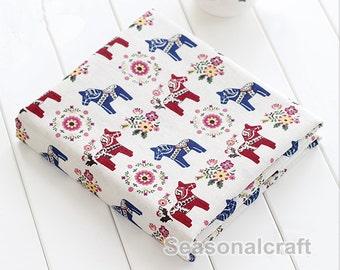 Cotton Linen Fabric, Colorful Horse Trojan, Cartoon Pattern Cotton Linen Fabric 1/2 Yard (QT793)