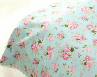 Aqua Blue Fabric Pink Flower Fabric,Shabby Chic Flower Fabric,Pink Floral width 92 inch 235cmCotton Fabric 1/2 Yard(QT684)