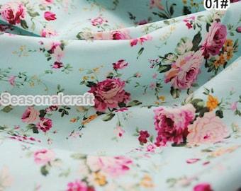 Aqua Blue Fabric Pink Flower FabricShabby Chic FabricPink Yellow Black Floral