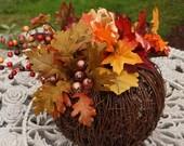 Thanksgiving Table Centerpiece, Holiday Decor, 10 Inch Decorative Pumpkin