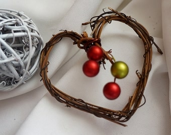Rustic Ornaments, Christmas Decorations, Mini Vine Hearts, 3pcs