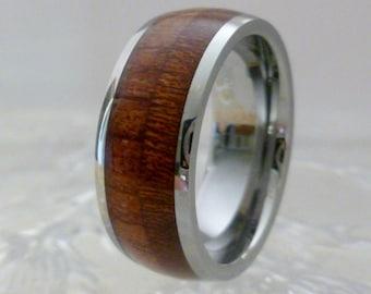 Tungsten Ring Koa Wood Inlay, Wedding Wood Ring, Comfort Fit, Tungsten Carbide, 8mm 6mm,  Anniversary Mens Ring Womens Ring, TR51 Custom