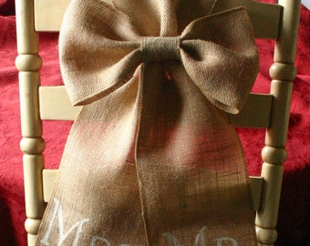Bride and Groom chair bows, TWO Mr and Mrs Burlap pew bows, shabby chic, country chic, rustic chic, French country, cottage chic wedding,
