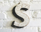 "Vintage Carnival Letter ""S"" Antique Original Old Hand Painted Sign Letter Primitive Shabby Chic Folk Art Circus Wood Sign Letter"