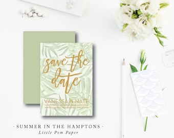 Summer in the Hamptons Design | Wedding Save the Date | Tropical Invitation | Printed by Darby Cards Collective