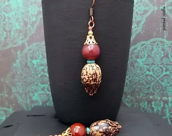 Jasper Gemstone  Natural Nut Dangle Earring - Boho Rustic Hippie Red Brown Turquoise Dangle Earring - Boho Jewelry Gift