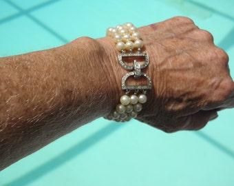 "3 Strand Pearl & Rhinestone Vintage Bracelet, C.60's,  Silver Rhinestone ""D""  Clasp"