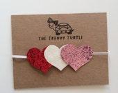 Glitter hearts headband, red white and pink hearts crown, heart headband, valentines day headband, baby headband, toddler headband, infant,