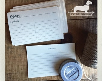 CLEARANCE! 4x6 Recipe Cards (Qty 10)  -- (Simple, Bridal Shower Favor, Rustic, Farmhouse Chic, Discounted, Ivory, For The Kitchen, Under 5)