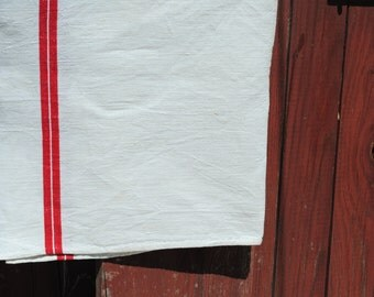 Vintage French rustic kitchen linen hand made tea towel torchon with two red stripes  No. 5